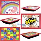 Childrens Kids Wooden Soft Padded Cushioned Bean Bag Lap Dinner Laptop Food Tray