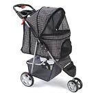 Pet Stroller Cat Dog Retractable FoldingCarrier Puppy BuggyPrams Internal Tether