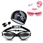 Swimming Glasses Goggles Anti-fog UV Waterproof Earplug Swim Cap Nose Pool Sport