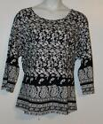 Plus size black and white floral 3/4 sleeve shirt