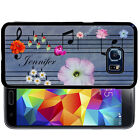 PERSONALIZED RUBBER CASE FOR SAMSUNG S8 S7 S6 S5 EDGE PLUS FLOWER MUSIC NOTE