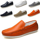 Men Slip On PU 100% Leather Loafer Driving Casual Flat Boat Lazy Shoes US5.5-10