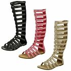 Girls Spot On Knee High Gladiator Sandals 'H0222'