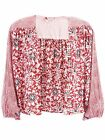Free People Jacket Printed Kimono Balloon Sleeve Top Rouge Comb XS S M L NWT