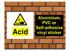 1036 Acid sign weatherproof Aluminium Plaque PVC or Vinyl Sticker