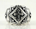 CELTIC CROSS SOLID 925 STERLING SILVER MEN'S RING CHRISTIAN NEW BAND BIKER PUNK