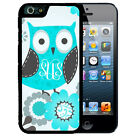 MONOGRAMMED RUBBER CASE FOR iPHONE 7 6S 6 SE 5C 5 5S PLUS BLUE OWL FLOWERS