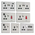 Slimline Screwless Socket Range - Stainless Steel