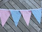 Cotton Bunting Handmade Gender Reveal Baby Shower Pink & Blue White Spot