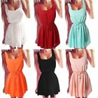Summer Fashion Casual Mini Chiffon Dress Beach O-Neck Evening Party Short Skirt