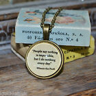 """Winnie the Pooh Quote """"People say nothing is..."""" picture pendant necklace 20mm"""