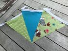 Cotton Bunting Handmade Decor Kitchen Lime Peacock Bird Chicken Teal