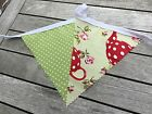 Cotton Bunting Handmade Decor Garden Party Kitchen Lime Spot Red Teapot