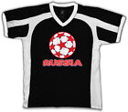 Russia Stars Soccer Ball Russian Country Team From RUS RU Men's V-Neck Sport Tee
