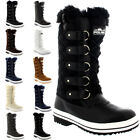 Womens Quilted Rain Lace Up Fur Lined Warm Shoes Duck Winter Snow Boots UK 3-10