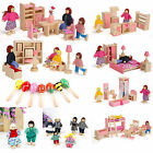 Kids Wooden Furniture Room Set Dollhouse Doll House Family Pretend Play Mini Toy