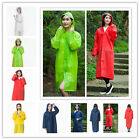 Adult Raincoat Clear Waterproof Plastic Disposable Rain Poncho Hood Ladies Mens