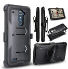 For ZTE Zmax Pro Z981 Shockproof Belt Clip Holster Rubber Armor Hard Case Cover