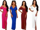 WOMENS LADIES LONG CUT OUT COLD SHOULDER MAXI SUMMER PARTY DRESS SIZE 12-18