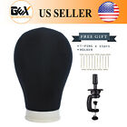 GEX Poly Canvas Block Head Mannequin Head with Mount Hole Black Clamp T Neesdles