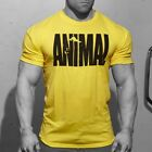 Mens Animal Print Crew Neck T Shirt Fit Athletic Gym Muscle Training Workout Tee