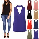 Ladies Womens Sleeveless Cut Out Collar Choker Neck V Plunge Blouse T Shirt Top