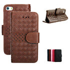 Weave Wallet Leather PU Stand Case Cover For Apple iPhone 6/6 Plus 5S