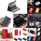 Men Women RFID Aluminum Leather ID Credit Card  Protector Holder Purse Wallet