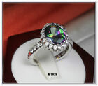 6.40 CARAT OVAL CUT HALO CZ MYSTIC TOPAZ WITH CZ ACCENTS FASHION RING~MTR9-MAX-H