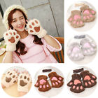 Cute Cat Claw Paw Plush Mittens Short Fingerless Gloves Half Finger Women Lovely