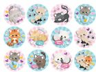 12 Precut Icing 3.7cm Pink & Blue Cute Cats Cupcake Toppers Birthday Party Cakes