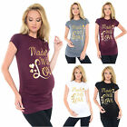 Purpless Maternity Made with Love- Gold Slogan Cotton Printed Maternity Top 2015