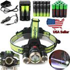 Tactical 40000LM 3x XM-L T6 LED Headlamp Zoomable HeadLight 18650 Charger