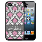 PERSONALIZED RUBBER CASE FOR iPHONE 5S 5C SE 6 6S 7 PLUS PINK WHITE GRAY DAMASK