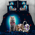 Cat Dog Quilt Doona Duvet Covers Set Single Queen King Size Floral Animal Cover
