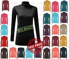 Ladies Long Sleeves Stylish Polo Neck Stretch Top Turtle Neck Trendy Jumper