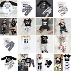 2pcs Newborn Toddler Kids Boy Girl Baby T-shirt Top Clothes + Pants Outfit Set