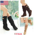 Us Women's Fashion Boots Shoes Slouch Flat Mid Calf Knee High Riding Round Toe