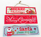 Merry Christmas Signs - Xmas Party Sign Santa Stop Here Wall Plaque Decorations