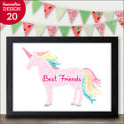UNICORN Gifts for Best Friends - Personalised Unicorn Print Present for Friends