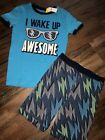 Gap Kids Boys Pajamas Wake Up Awesome New Shirt Shorts Size 10 12