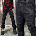NewStylish Mens Pants Avant-Garde Hardcore Wax Coated Slim Black Biker Jeans