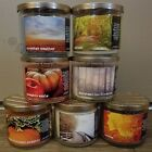 BATH & BODY WORKS WHITE BARN 2017 FALL 3 WICK CANDLES PUMPKIN LEAVES AUTUMN MORE