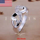 Us Women 925 Stering Silver Infinity Knot Friendship Love Promis Ring Size 6-10