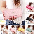 Women's Elegant Lady Rhombus Quilted Crown Clutch Long Synthetic Leather Wallet
