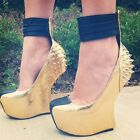 NEW Privileged Lucianna Spike Heel Less Ankle Cuff Curved Wedge