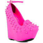 NEW Privileged Sakina Neon Pink Studded Spike Loafer Wedge - SIze 6