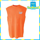 CAT CATERPILLAR MENS HI VIS SLEEVELESS TEE WORK/OCCUPATIONAL/SAFETY/GEAR ORANGE