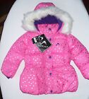 NWT Toddler Girls Pink Heart Fleece Lined Puffer Jacket Outerwear Size 2T 3T 4T