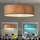 LED ceiling pendant lamp RGB remote control textile brown dimmable modern light
